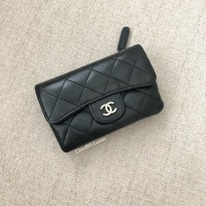 Auth Chanel Black Caviar Double Pouch Card Holder